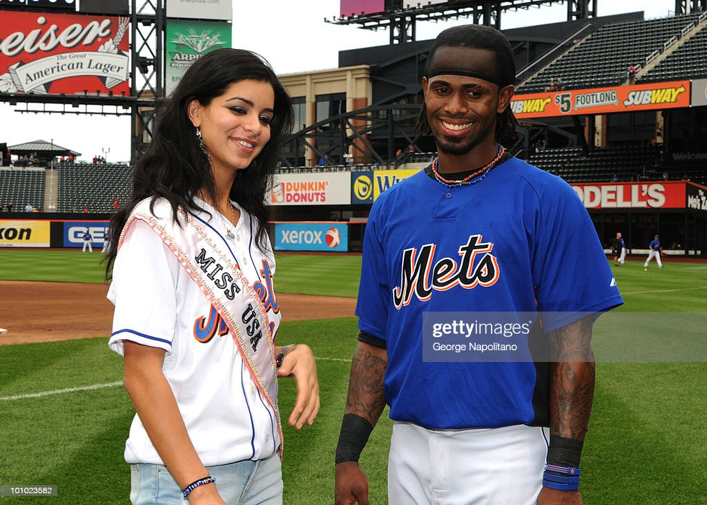 Miss USA Rima Fakih and Jose Reyes of the New York Mets visit Citi Field on May 27, 2010 in the Flushing neighborhood of the Queens borough of New York City.