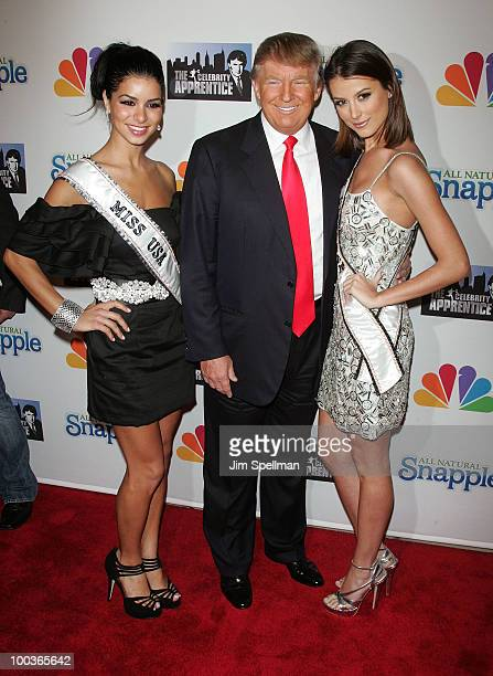 Miss USA Rima Fakih Donald Trump and Miss Universe Stefania Fernandez attends 'The Celebrity Apprentice' Season 3 finale after party at the Trump...