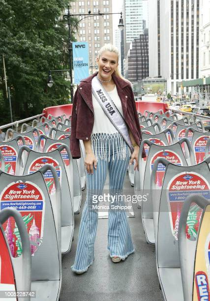 Miss USA Sarah Rose Summers takes her first doubledecker ride in New York City on July 25 2018 in New York City
