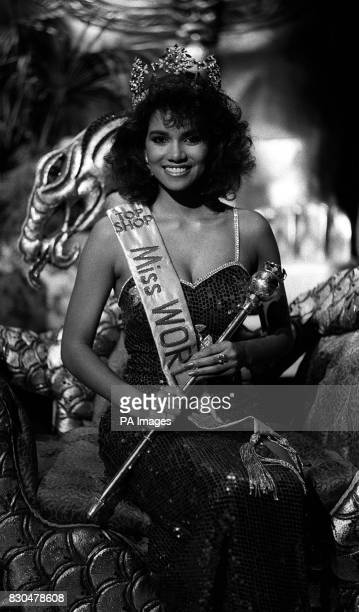 Miss USA, student Halle Berry crowned at the dress rehearsal of the Miss World Final which takes place at the Royal Albert Hall, London.