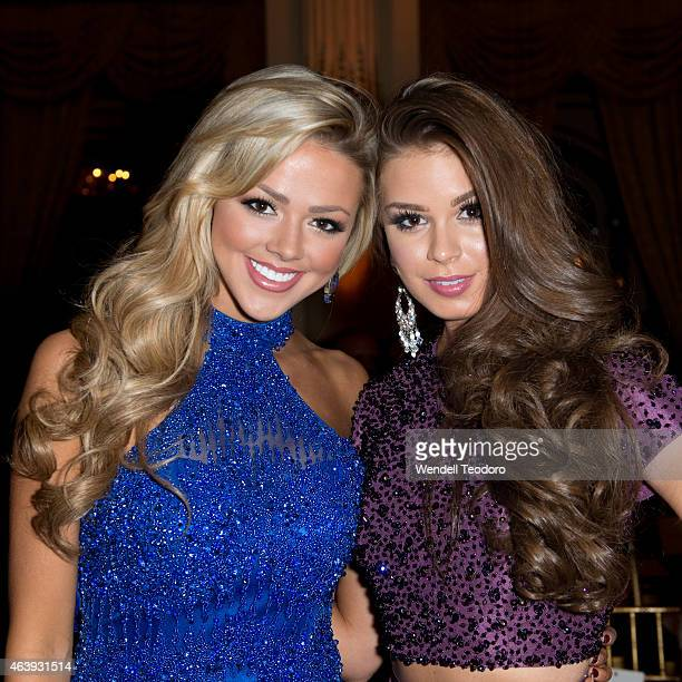 Miss Utah Angie Layton and Summer Priester attends the Sherri Hill fashion show during MercedesBenz Fashion Week Fall 2015 at The Plaza on February...