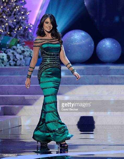 Miss Venezuela 2012 Irene Sofia Esser Quintero competes in the evening gown competition during the 2012 Miss Universe Pageant at PH Live at Planet...
