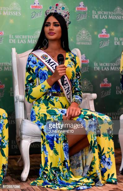Miss Venezuela 2017 Sthefany Gutierrez gestures during a press conference in Caracas on November 10 2017 18yearold law student Sthefany Gutierrez who...