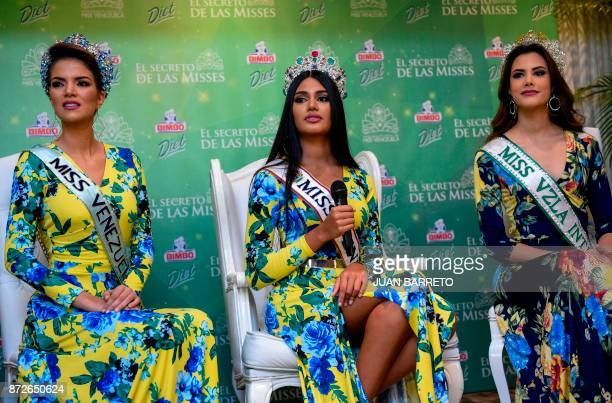 Miss Venezuela 2017 Sthefany Gutierrez gestures during a press conference in Caracas on November 10 2017 Eighteenyearold law student Sthefany...