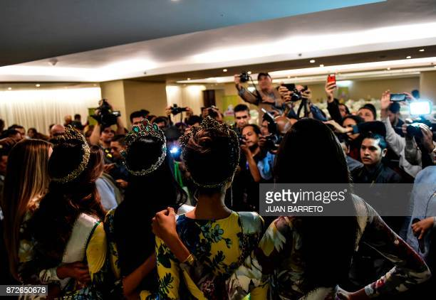 Miss Venezuela 2017 Sthefany Gutierrez poses after a press conference in Caracas on November 10 2017 Eighteenyearold law student Sthefany Gutierrez...