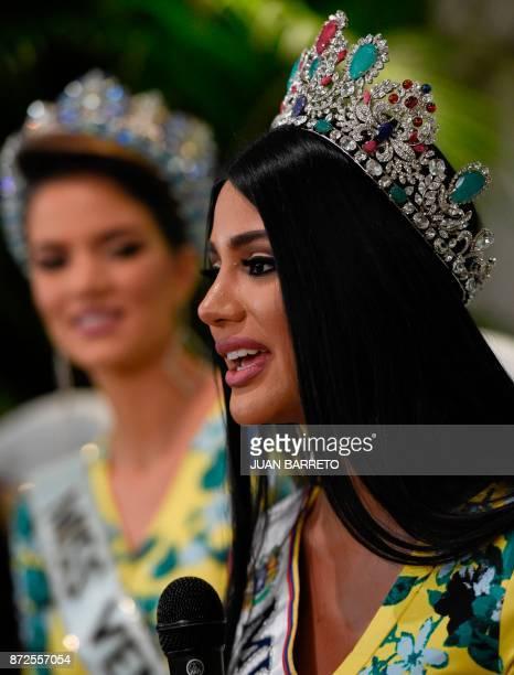 Miss Venezuela 2017 Sthefany Gutierrez speaks during a press conference in Caracas on November 10 2017 18yearold law student Sthefany Gutierrez who...
