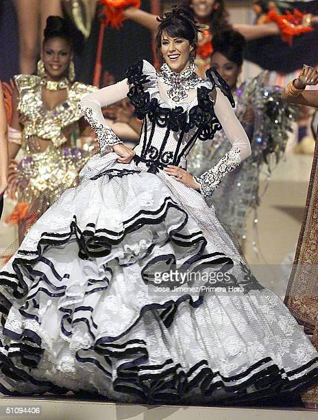 Miss Venezuela Cynthia Lander Zamora Performs On Stage During The Preliminary Traditional Costume Event In The Miss Universe Competition May 24 2002...
