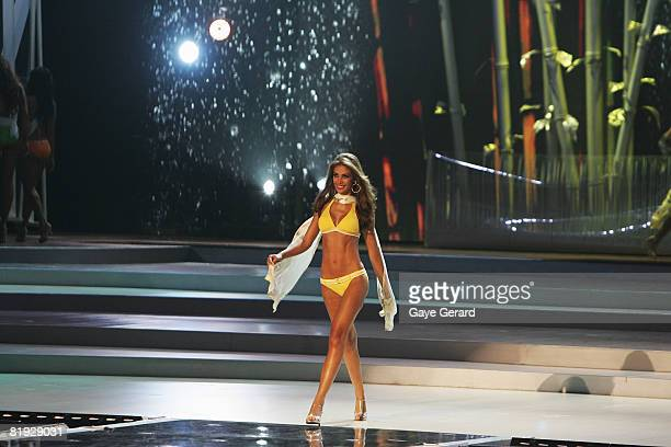 Miss Venezuela Dayana Mendoza walks the stage in the swimwear category during the 57th Annual Miss Universe Competition at the Crown Convention...