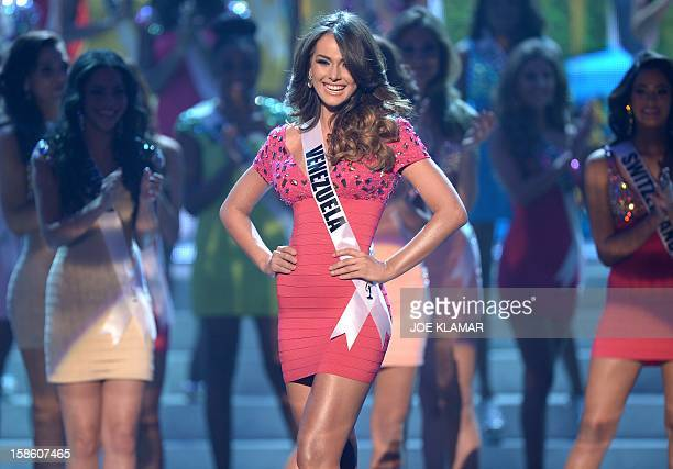 Miss Venezuela Irene Sofía Esser Quintero walks on stage during the 2012 Miss Universe Pageant at Planet Hollywood in Las Vegas Nevada on December 19...