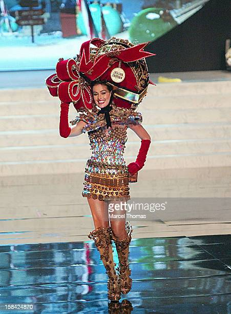 Miss Venezuela Irene Sofia Esser Quintero displays her national costume at the 2012 Miss Universe National Costume event at Planet Hollywood Casino...