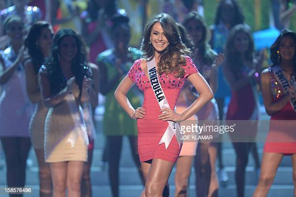 Miss Venezuela Irene Sofia Esser Quintero stands on stage with other Miss Universe contestants during the 2012 Miss Universe Pageant at Planet...