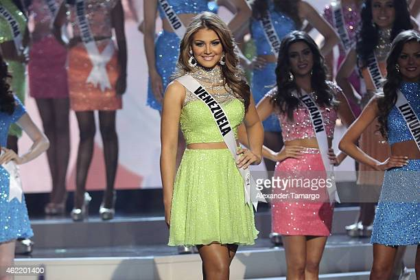 Miss Venezuela Migbelis Castellanos onstage during The 63rd Annual Miss Universe Pageant at Florida International University on January 25 2015 in...