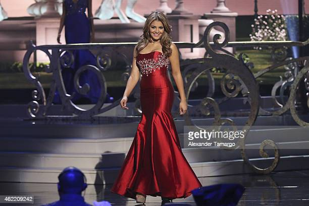 Miss Venezuela Migbelis Lynette Castellanos onstage during The 63rd Annual Miss Universe Pageant at Florida International University on January 25...