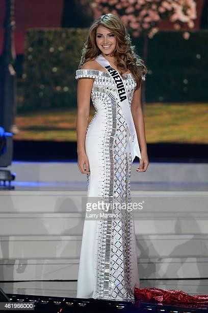 Miss Venezuela Migbelis Lynette Castellanos participtaes in the 63rd Annual Miss Universe Preliminary Show at Florida International University on...