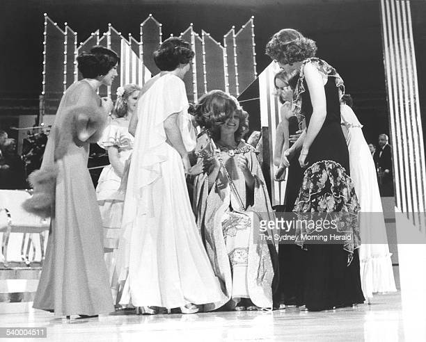 Miss Victoria 1978 Gloria Krope is congratulated by the other finalists after being crowned Miss Australia 26 October 1977 SMH Picture by MARTIN...
