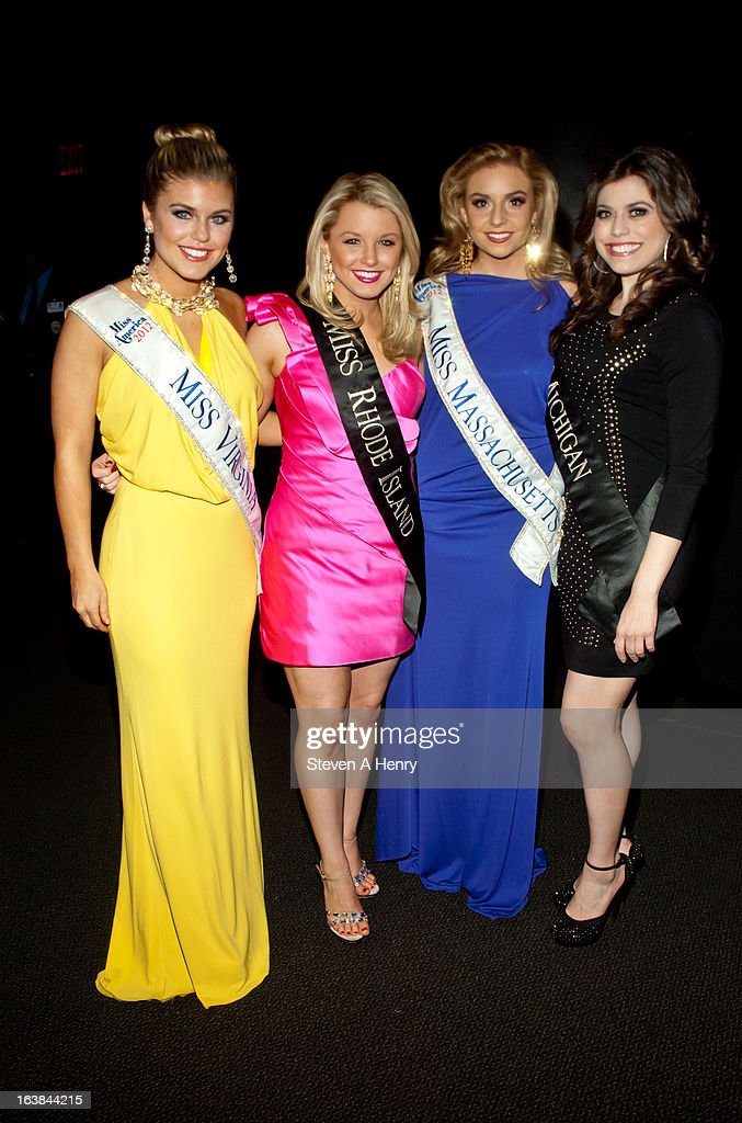 Miss Virginia Catherine Muldoon, Miss Rhode Island Kelsey Fournier, Miss Massachusetts Taylor Kunzler and Miss Michigan Angela Venditti attend the Miss America 2013 Homecoming Gala at The Fashion Institute of Technology on March 16, 2013 in New York City.