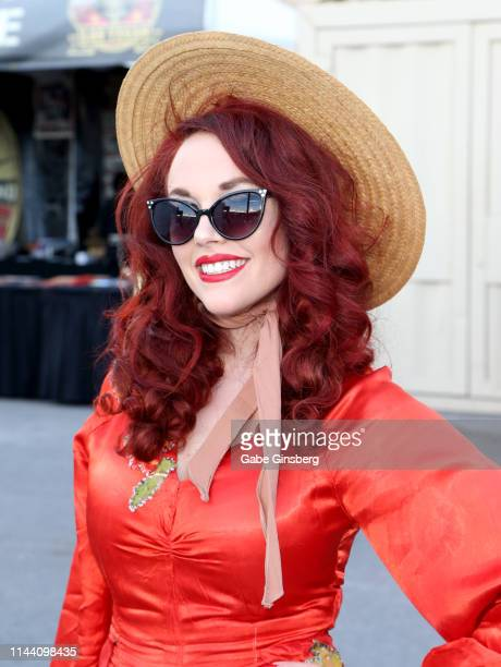 Miss Viva Las Vegas 17 model Ginger Watson of California attends the Viva Las Vegas Rockabilly Weekend's car show at the Orleans Arena on April 20...