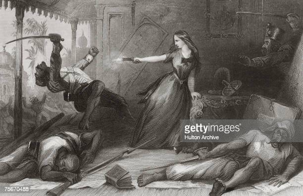 Miss Wheeler defending herself against attacking Sepoys during the Siege of Cawnpore June 1857 A bible lies on the foor in the foreground