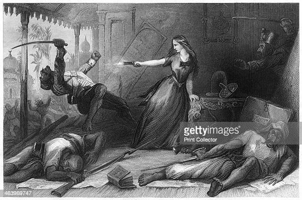 'Miss Wheeler defending herself against the Sepoys at Cawnpore' Massacre of British civilians in what is now known as Kanpur India Illustration from...