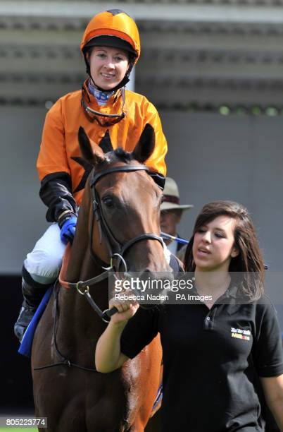Miss Whippy ridden by Hayley Turner enters the winning enclosure after winning The Summer Celebration With Go West 29th August Selling Stakes at...