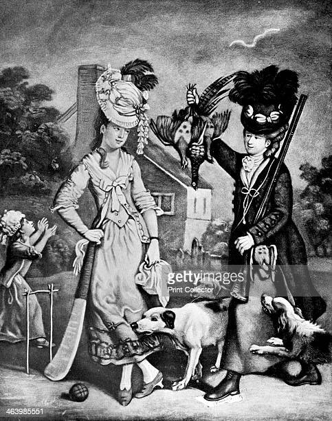 'Miss Wicket and Miss Trigger' 1770 'Miss Trigger you see is an excellent shot and fortyfive notches Miss Wicket's just got' Illustration from Social...