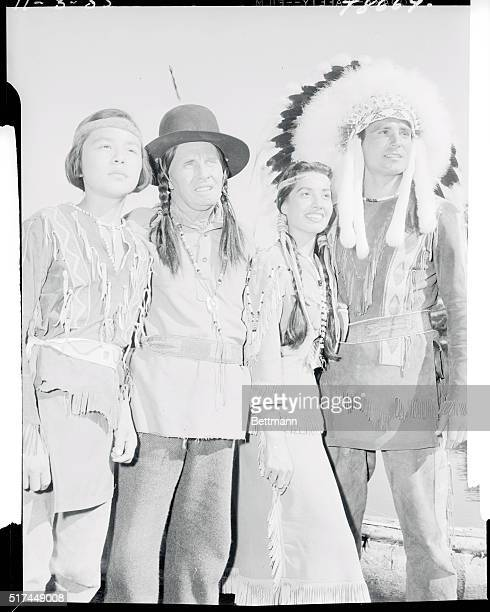 Miss Winona who plays Morning Star on the show poses with others of the cast Kena Nomkeena also a real Indian Bert Wheeler a Cheyenne sage and...