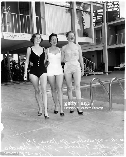 Miss Winter' contest in Long Beach, 30 January 1958. Marilyn De Lane -- 20 years;Loretta Newton -- 20 years;Sandra De Lane -- 18 years.;Caption slip...