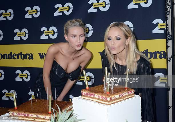 Miss Wonderbra 2014 Adriana Cernanova and Adriana Karembeu attend the Wonderbra 2Oth anniversary party at Tres Honore Bar on November 27 2013 in...
