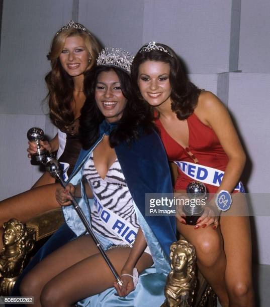 Miss World 1975 Wilnelia Merced of Puerto Rico with runnersup after the contest in London They are left Marina Langner who came second and Vicki...