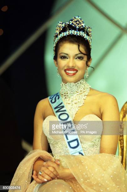 Miss World 2000 winner, Miss India, Priyanka Chopra during the Miss World contest at The Millennium Dome in Greenwich.