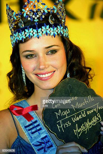 Miss World 2004 Maria Julia Mantilla Garcia of Peru poses during an event in Beijing 22 January 2005 to promote the upcoming Miss World 2005 pageant...