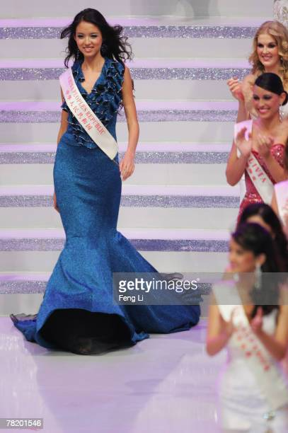 Miss World 2007 Zi Lin Zhang of China PR takes part in the 57th Miss World final contest at the Beauty Crown Theatre on December 1 2007 in Sanya of...