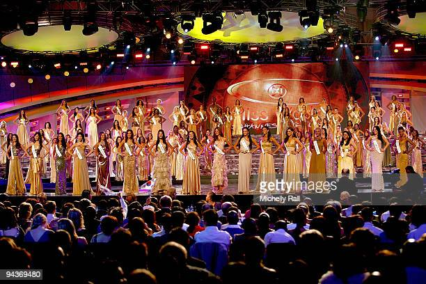 Miss World 2009 Finals contestants attend the finals at the Gallagher Convention Centre on December 12 2009 in Johannesburg South Africa