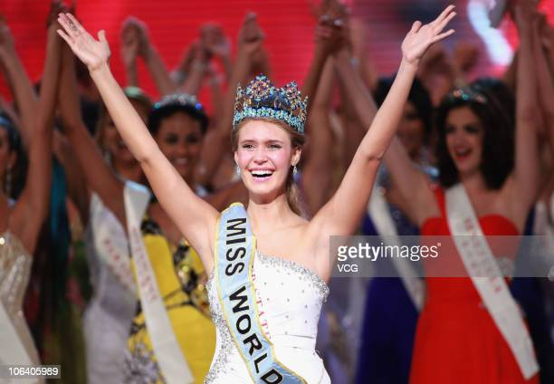 Miss World 2010 Alexandria Mills of the United States celebrates after winning the 60th Miss World Beauty Pageant at the Beauty Crown Cultural Center...