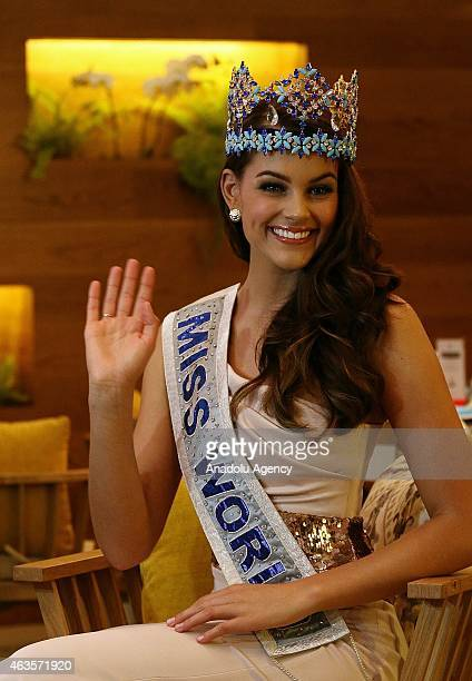 Miss World 2014 South African Rolene Strauss attends a press conference in Jakarta Indonesia February 16 2015 Previous Rolene Strauss crowned as Miss...