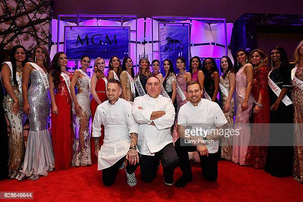 Miss World 2016 contestants Bryan Voltaggio Jose Andres and Michael Voltaggio attend the MGM National Harbor Grand Opening Gala on December 8 2016 in...