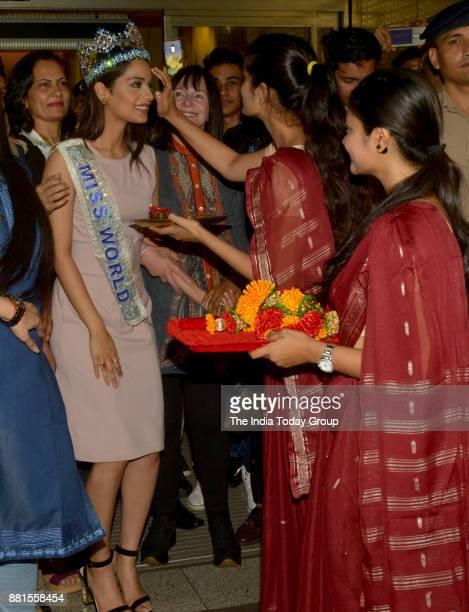 Miss World 2017 Manushi Chhillar arrives at the Chhatrapati Shivaji International Airport in Mumbai