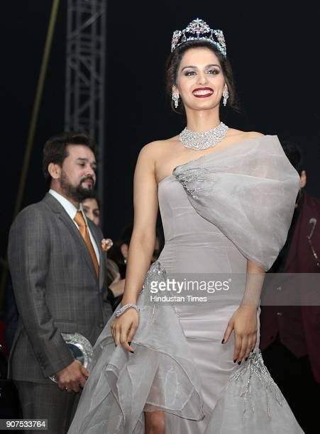 Miss World 2017 Manushi Chhillar during the launch of Audi Q5 at GMR Grounds Aerocity on January 18 2018 in New Delhi India Audi has launched the new...