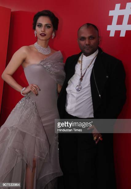 Miss World 2017 Manushi Chhillar with Fashion Designer Gaurav Gupta during the launch of Audi Q5 at GMR Grounds Aerocity on January 18 2018 in New...