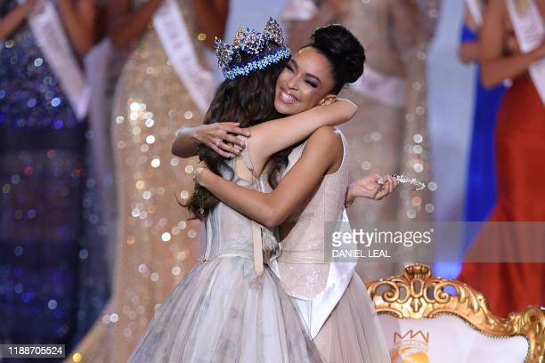 Miss World 2018 Mexico's Vanessa Ponce de Leon embraces runnerup in 2019 Miss France Ophely Mezino during the Miss World Final 2019 at the Excel...