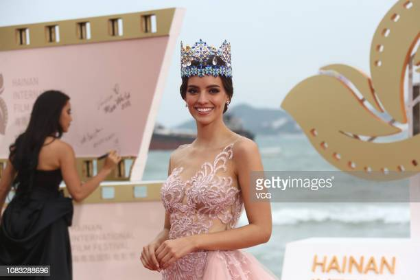 Miss World 2018 Vanessa Ponce de Leon arrives at the red carpet during the closing ceremony of 1st Hainan International Film Festival on December 16,...