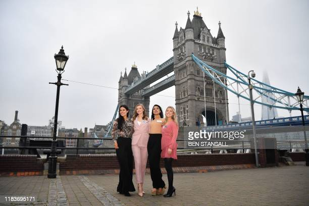 Miss World 2019 contestants Miss Northern Ireland Lauren eve Leckey Miss Wales Gabriella Jukes Miss England Bhasha Mukherjee and Miss Scotland Keryn...