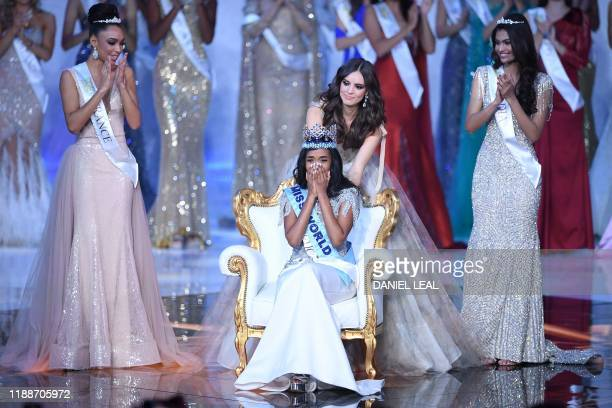 Miss World 2019 Miss Jamaica ToniAnn Singh reacts after being crowned by Miss World 2018 Mexico's Vanessa Ponce de Leon during the Miss World Final...