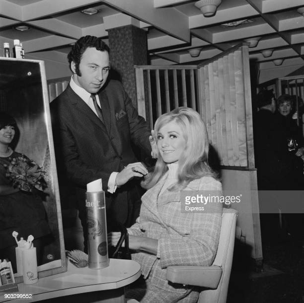 Miss world Australian beauty queen Penelope Plummer with hairdresser Peter Krendel at the Strand Palace Hotel London UK 18th November 1968