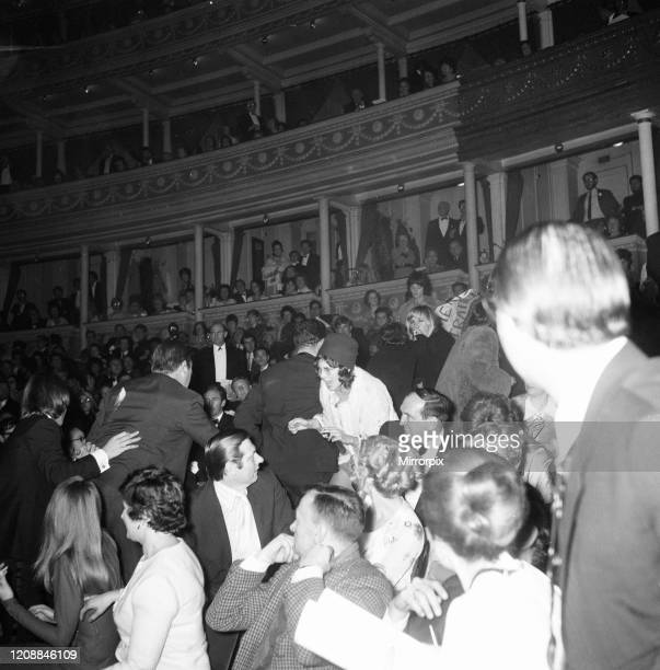 Miss World Beauty Competition at the Royal Albert Hall, London, is disrupted by members of the Women's Liberation Movement, Friday 20th November 1970,