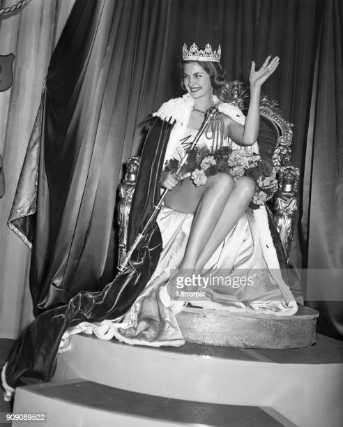 Miss World Beauty Contestant, Lyceum Ballroom, London, 13th October 1958. Newly crowned Miss World 1958, Penelope Anne Coelen, who represented South...