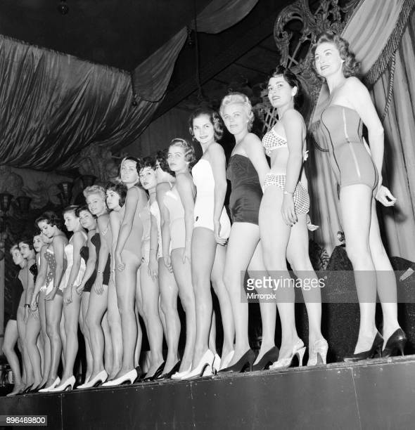 Miss World Beauty Contestants pictured during rehearsals Lyceum Theatre London 6th October 1958