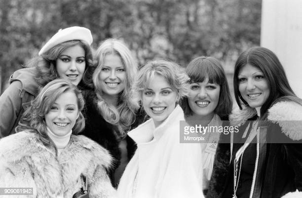 Miss World Contestant, Photo-call at the Britannia Hotel, Grosvenor Square, London, 30th October 1977. Left to Right. Miss Switzerland, Danielle...