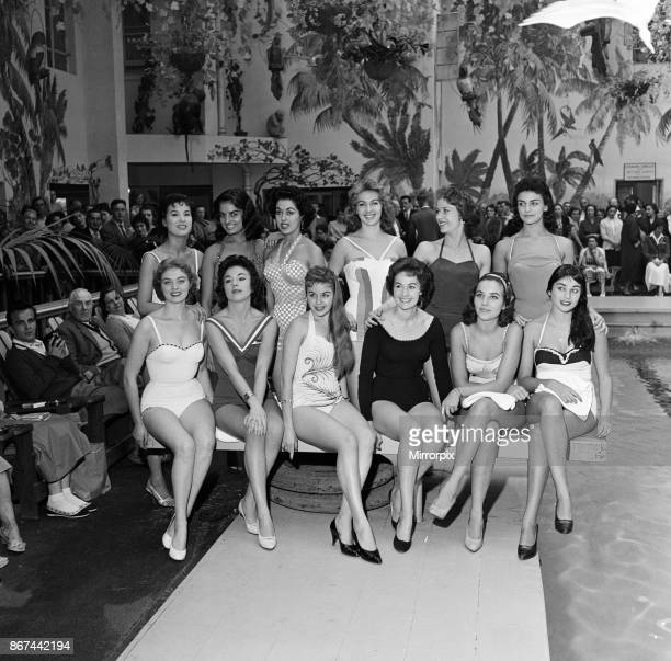 Miss World contestants go for a swim at the Butlins Hotel Margate The girls are relaxing before the final tomorrow 13th October 1957