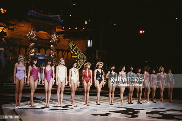 Miss World contestants line up in their swimwear at the Royal Albert Hall London 13th November 1986